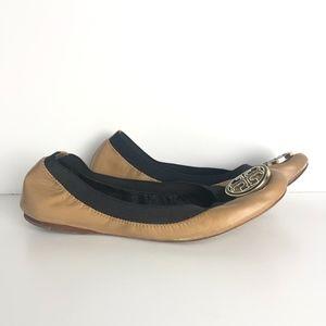 Tory Burch Tan Caroline Elastic Ballet Flat